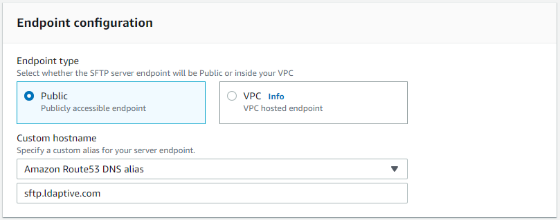 AWS Transfer for SFTP Endpoint configuration